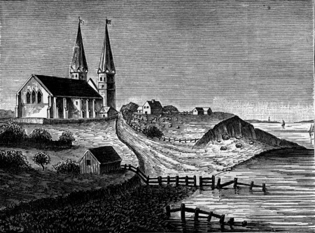 The encroachments of the sea, The church of Reculver in 1781, vintage engraved illustration. Earth before man – 1886. Stock fotó