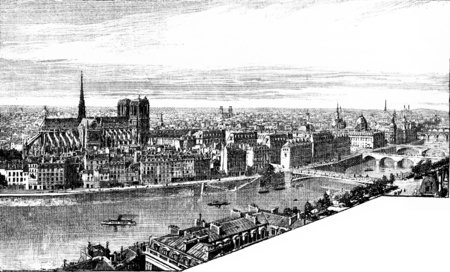river bank: Panorama of the City and the left bank, taken from Saint-Gervais, vintage engraved illustration. Paris - Auguste VITU – 1890. Stock Photo