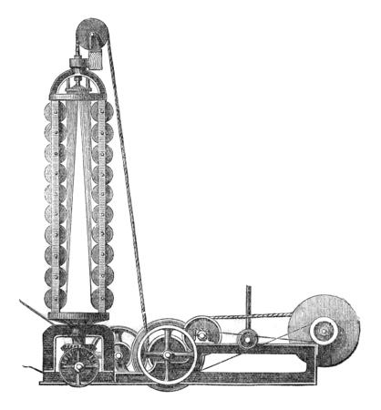 industrial machine: A stranding machine, vintage engraved illustration. Industrial encyclopedia E.-O. Lami - 1875.