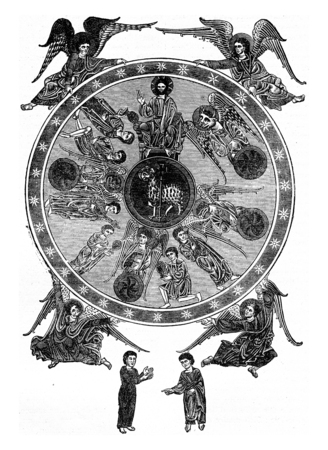 commentary: The Triumph of the Lamb, after a miniature of the Commentary on the Apocalypse by Beatus manuscript of the twelfth century, vintage engraved illustration. Industrial encyclopedia E.-O. Lami - 1875. Stock Photo