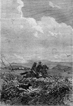 They were free then, vintage engraved illustration. Jules Verne 3 Russian and 3 English, 1872. 版權商用圖片