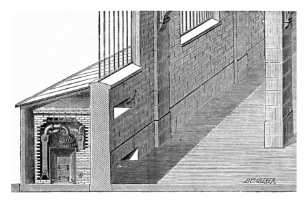 furnace: Furnace placed in a shed, vintage engraved illustration. Industrial encyclopedia E.-O. Lami - 1875.