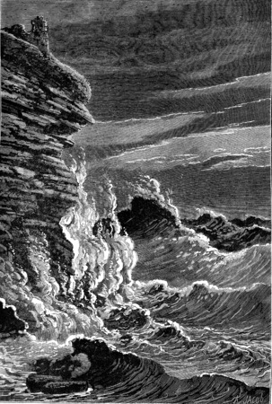 cliffs: The Storm, vintage engraved illustration. Earth before man – 1886. Stock Photo