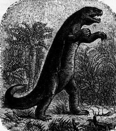 carnivores: Dinosaur, vintage engraved illustration. Earth before man – 1886.