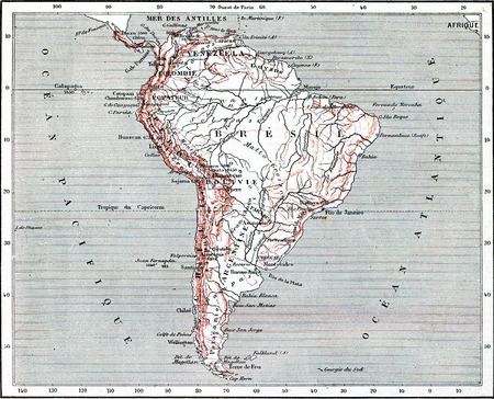 south america map: Map of South America, vintage engraved illustration. Dictionary of words and things - Larive and Fleury - 1895.