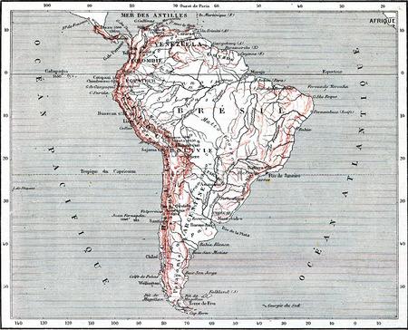america del sur: Mapa de América del Sur, cosecha ilustración grabada. Diccionario de palabras y las cosas - Larive y Fleury - 1895. Foto de archivo