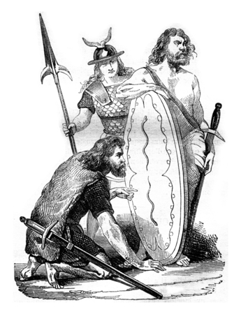 gallic: Gallic soldiers, before the Roman domination, vintage engraved illustration. Magasin Pittoresque 1842.