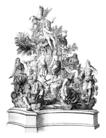 magasin pittoresque: The French Parnassus Titon Tillet, Model bronze preserved in one of the rooms of the Royal Library, vintage engraved illustration. Magasin Pittoresque 1845.