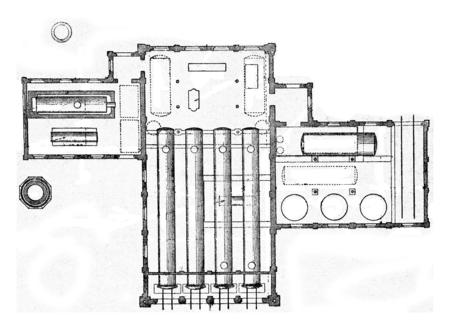 Planen Sie eine Fabrik (Stendal) zur Injektion des Waldes, Method Rutgers, Jahrgang gravierte Darstellung. Standard-Bild - 72301573