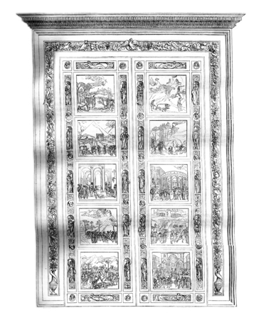 Main gate of the Baptistery of Florence by Ghiberti, vintage engraved illustration. Magasin Pittoresque 1844. Фото со стока