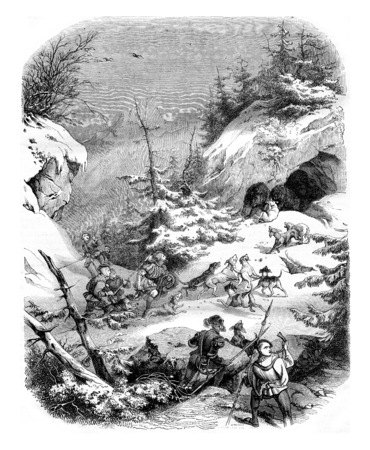 feudal: Hunting a bear, in feudal times, vintage engraved illustration. Magasin Pittoresque 1844. Stock Photo
