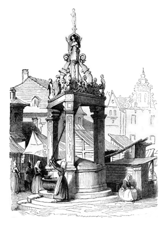 history architecture: A fountain on the market square of Mainz, vintage engraved illustration. Magasin Pittoresque 1842.