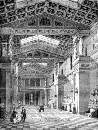 magasin pittoresque: The Walhalla, Inside view, vintage engraved illustration. Magasin Pittoresque 1844. Stock Photo