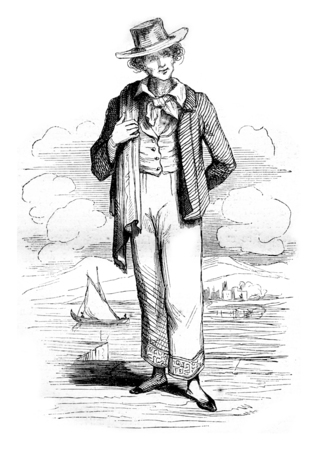 standing man: Costumes Manila, vintage engraved illustration. Magasin Pittoresque 1844.