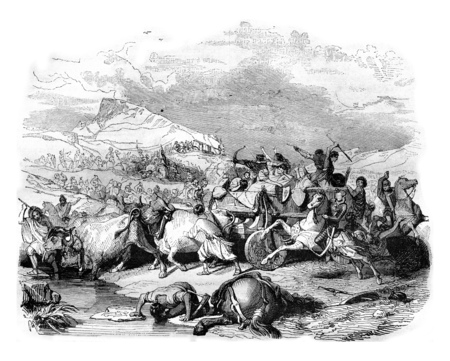 Defeat of Cimbrian, vintage engraved illustration. Magasin Pittoresque 1842.