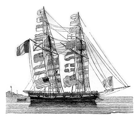 boudoir: Pavoisse schooner, wetted, seen by starboard boudoir, vintage engraved illustration. Magasin Pittoresque 1842.