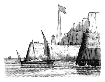 Jetty, Dimensions of Normandy, vintage engraved illustration. Magasin Pittoresque 1842.