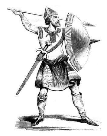 black history: Norman soldier, after a manuscript of Strutt, vintage engraved illustration. Magasin Pittoresque 1842.