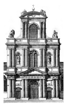 Portal of the church of Saint Gervais, in Paris, beginning in 1616, vintage engraved illustration. Magasin Pittoresque 1845. Stock Photo