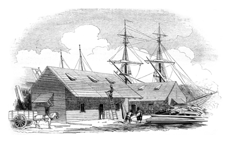 magasin pittoresque: Wooden houses for Algeria, vintage engraved illustration. Magasin Pittoresque 1844.