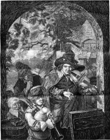 The Street Musicians, instrument Dietrich, vintage gegraveerde illustratie. Magasin Pittoresque 1841. Stockfoto