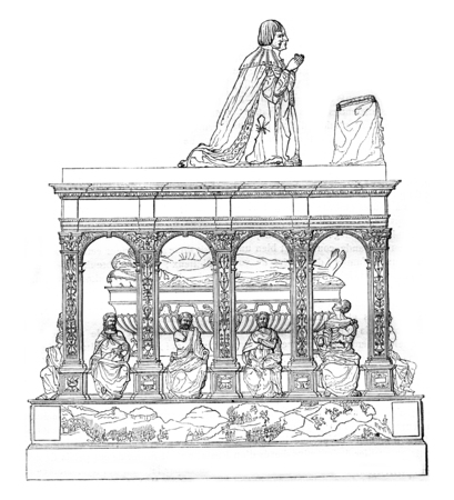 magasin pittoresque: Tomb of Louis XII in the church of Saint-Denis, vintage engraved illustration. Magasin Pittoresque 1842.