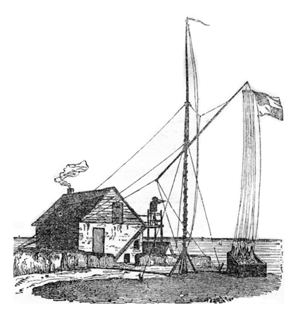 Vigie of heve, near Le Havre, vintage engraved illustration. Magasin Pittoresque 1842. Stock Photo
