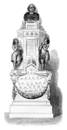 old church: The monument of Abbe Epee in one of the chapels of Saint-Roch in Paris, vintage engraved illustration. Magasin Pittoresque 1842.