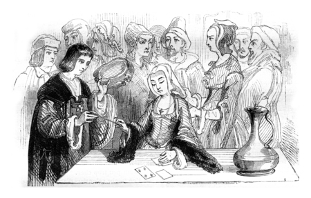 fortuneteller: Philippe Lebon consulting a fortune-teller, vintage engraved illustration. Magasin Pittoresque 1842. Stock Photo