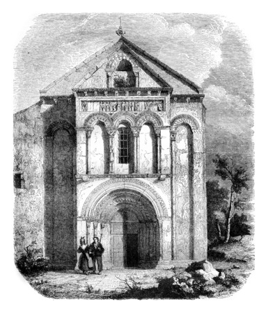 gironde department: Church of Loupiac, the department of Gironde, vintage engraved illustration. Magasin Pittoresque 1844. Stock Photo