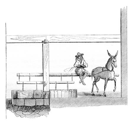 Maschine zu vernichten die Silbererz, Jahrgang gravierte Darstellung. Magasin Pittoresque 1844. Standard-Bild - 72301605