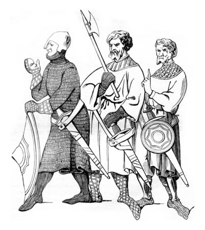 3 14 世紀のミニチュア後下士官、ヴィンテージには、図が刻まれています。マガシンドス Pittoresque 1845。