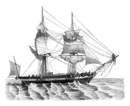Senau throwing the probe, seen abeam, vintage engraved illustration.