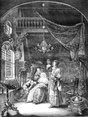 vintage: Louvre Museum, Women dropsy, by Gerard Dow, Godard Burning Alencon, vintage engraved illustration. Magasin Pittoresque 1842. Stock Photo