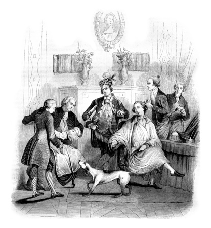 century: The Matinee of a nobleman, vintage engraved illustration. Magasin Pittoresque 1842.