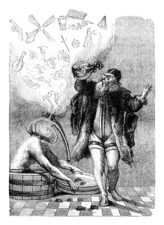 proverbs: Fired Lagniet of Proverbs, vintage engraved illustration. Magasin Pittoresque 1844. Stock Photo