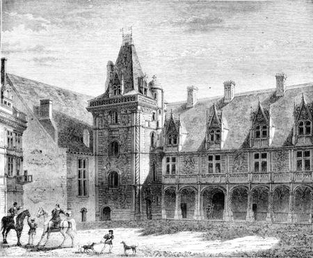 Renaissance, Chateau de Blois, Partly built under Louis XII, vintage engraved illustration. Magasin Pittoresque 1842. Stock Photo