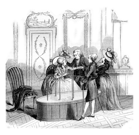 The magnetic Baquet de Mesmer, vintage engraved illustration. Magasin Pittoresque 1842.