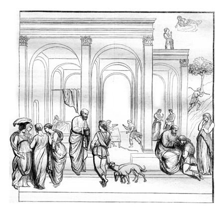 magasin pittoresque: Esau and Jacob, One of the compartments of the main gate of the Baptistery of Florence, vintage engraved illustration. Magasin Pittoresque 1844.