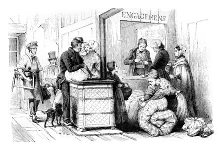 vintage: Interior Mont de Paris, the Marais, commitments room, vintage engraved illustration. Magasin Pittoresque 1842. Stock Photo