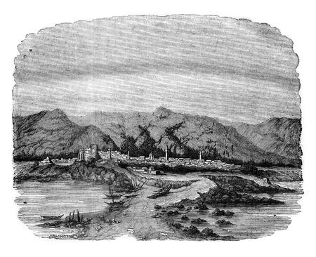 Scherschei or Cherchell, vintage engraved illustration. Magasin Pittoresque 1841.