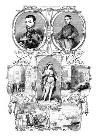 vintage: Drawing consists of after the book Magius, vintage engraved illustration. Magasin Pittoresque 1844. Stock Photo