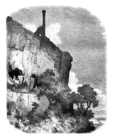 history architecture: Castle of ruins Rocks, near Tours, vintage engraved illustration. Magasin Pittoresque 1845.