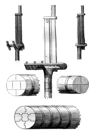 metal drawing: But fragments, vintage engraved illustration. Magasin Pittoresque 1842.