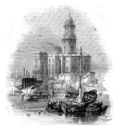 old church: Malaga Cathedral, vintage engraved illustration. Magasin Pittoresque 1844. Stock Photo