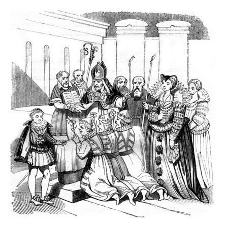baptized: Savages baptized in Paris, vintage engraved illustration. Magasin Pittoresque 1842. Stock Photo