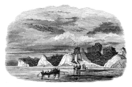 Juan Fernandez Island, or lived the sailor who Defoe novel Robinson Crusoe, vintage engraved illustration. Magasin Pittoresque 1842.