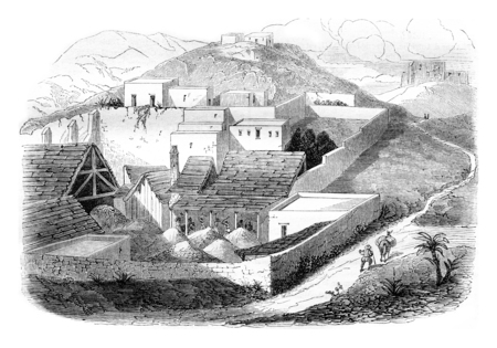 Operating building Rayas Mine, vintage engraved illustration. Magasin Pittoresque 1844.