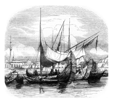 maneuverable: Caravels and other vessels structures, vintage engraved illustration. Magasin Pittoresque 1845.