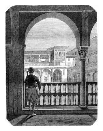 history architecture: Inside view of the Casbah in Algiers, View of the gallery and was the flag or kicks fan, vintage engraved illustration. Magasin Pittoresque 1845. Stock Photo